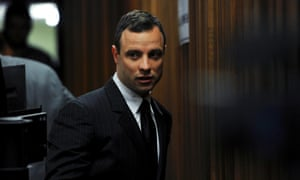 Oscar Pistorius arrives in court for his trial on Wednesday.