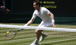 Andy Murray stoops for a volley, but he's in trouble.