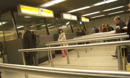 Passport control at Amsterdam airport.