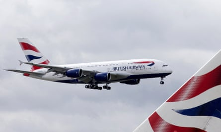 A British Airways Airbus A380 lands at Heathrow Airport in London.