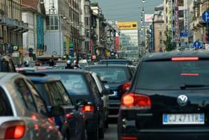 Rush-hour traffic in Milan, Italy.