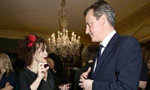 Prime Minister David Cameron with Helena Bonham Carter.