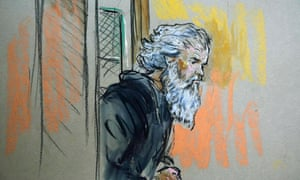 Benghazi attack suspect Ahmed Abu Khatallah is pictured arriving in US federal court in Washington.
