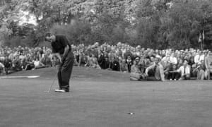 Fred Daly, the hole snaffling his ball at the 1953 Ryder Cup at Wentworth.