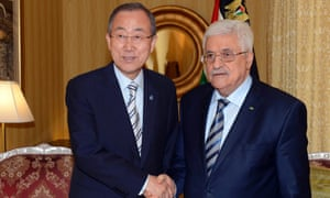 United Nations Secretary General Ban Ki-moon meeting Palestinian President Mahmoud Abbas (R) in Doha, Qatar