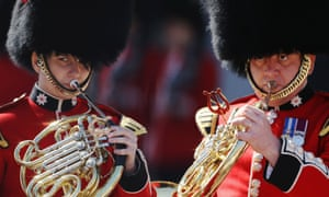 A band from the Queen's Guard perform as the 'Changing of the Guard' ceremony takes place at Buckingham Palace.