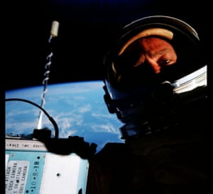 First space selfie by Buzz Aldrin on Gemini 12 mission in 1966