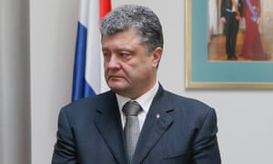 Ukrainian President Petro Poroshenko inside the Dutch embassy in Kiev.
