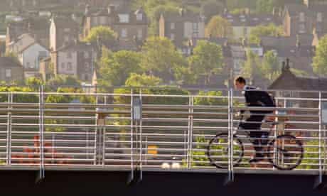 Boy cycling to school