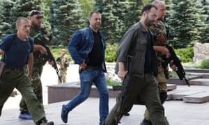 Aleksandr Borodai, prime minister of the self-proclaimed 'Donetsk People's Republic', centre. ukraine rebel