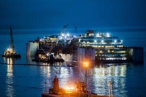 20 July 2014:  Costa Concordia wreck removal project, Giglio Island, Grosseto, Italy