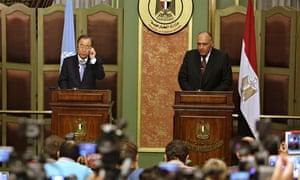 Ban Ki-moon and Sameh Shukri in Egypt