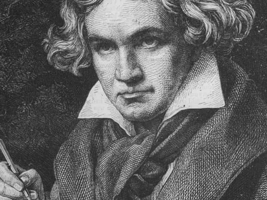 Engraving of Ludwig Van Beethoven (1770-1827) after painting by J. C. Stieler.