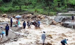 Damage from typhoon Rammasun in Son La province, Vietnam.