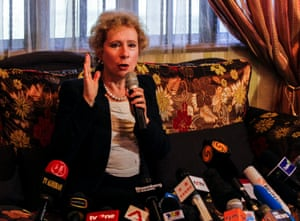 The Ambassador of the Russian Federation to Malaysia, Lyudmila Vorobyeva, speaks during a media conference on the crashed Malaysia Airlines MH17 flight at the Embassy of the Russian Federation, in Kuala Lumpur, Malaysia, 22 July 2014.