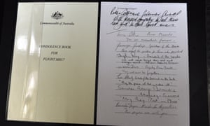 Signatures on a condolence book at Parliament House in Canberra, Tuesday, July 22, 2014.