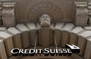The logo of Swiss bank Credit Suisse is seen at the company's headquarters in Zurich.