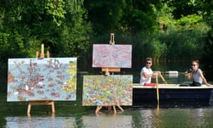 The work of 'Where's Wally' creator Martin Handford appeared to float on Southwark Lake - to mark the launch of two new Sony cameras