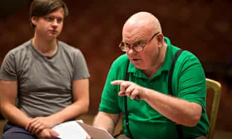 Declan Donnellan (right) holding a blank verse class at the Noel Coward theatre, London.