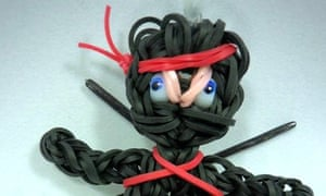 A ninja charm made from loom bands.
