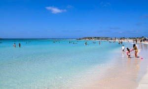 The small island of Elafonisi, off Crete, has an azure blue lagoon and pinkish white sand on one of