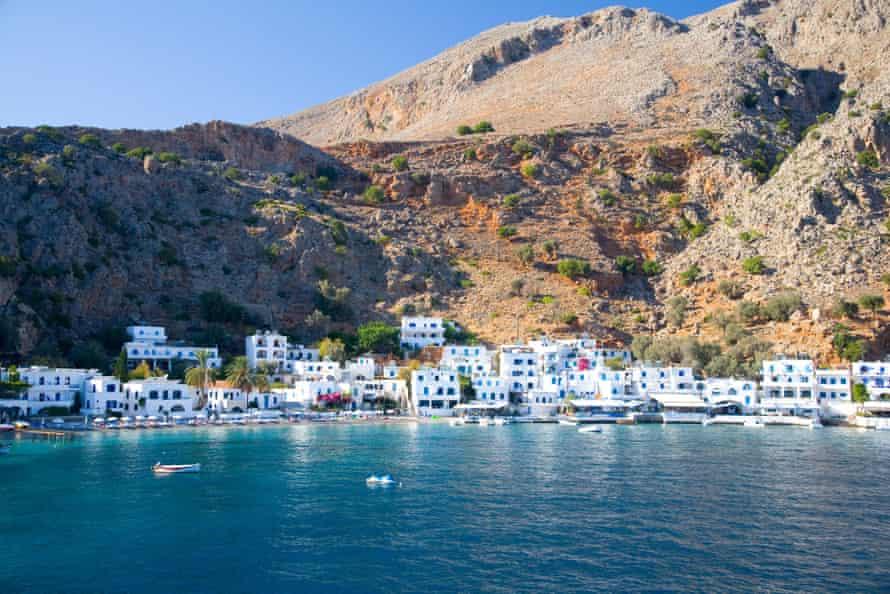 Loutro village beneath the White Mountains, Crete