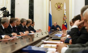 Russia president Vladimir Putin at a meeting of the Russian security council in Moscow