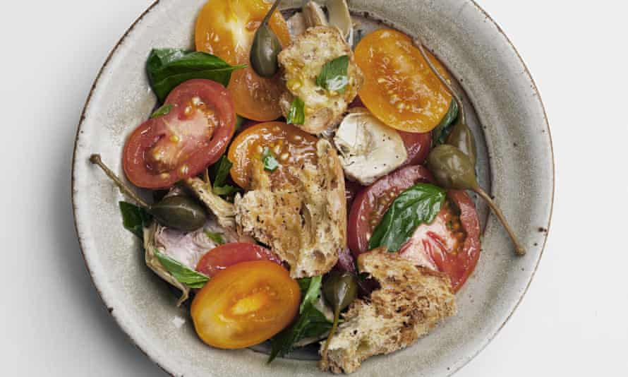 Nigel Slater's tomato and toasted bread salad recipe in a dish