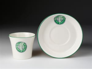 Bone china with emblem of Women's Social and Political Union (WSPU).