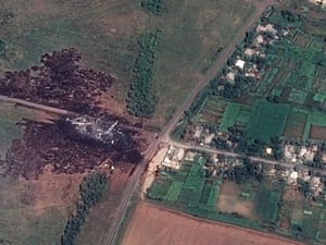 A satellite image made available by Airbus DS / AllSource Analysis showing the main crash site of the Boeing 777 Malaysia Airlines flight MH17. ukraine