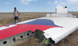 A man inspects debris at the main crash site of Malaysia Airlines flight MH17
