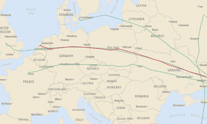 Wall Street Journal interactive MH17 screenshot, showing flight paths on July 17