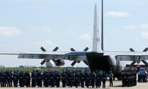MH17 victims on transport plane in Kharkiv
