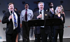 Duke Lafoon, Karl Kenzler and Alet Taylor perform at a preview for Clinton at the New York musical t
