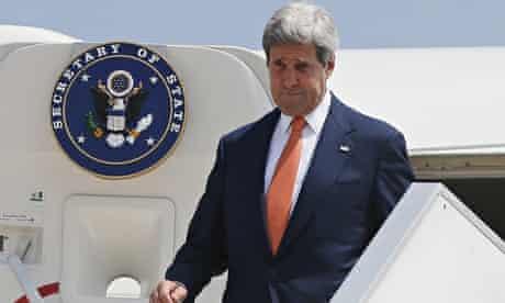 US Secretary of State John Kerry arrives in Tel Aviv