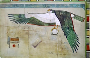 Watercolour copy by Howard Carter (1874-1939) of a painted scene showing the Horus falcon from the mortuary temple of Queen Hatshepsut at Deir el-Bahri, Egypt, 1895