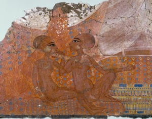 The Daughters of Akhenaten and Nefertiti. Detail of a wall painting from the King's House at Tell el-Amarna, width 165 cm, c1345-1335 BC