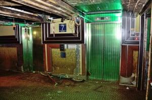 27 February 2014: The lift area inside the Costa Concordia cruise liner at Giglio Island