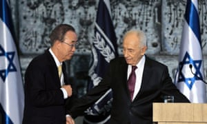 Israel's President Shimon Peres and UN secretary general Ban Ki-moon leave after delivering joint statements to the media in Jerusalem on 23 July, 2014.