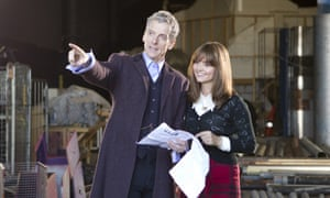 Peter Capaldi and Jenna Coleman on set as filming begins on series 8 of Doctor Who.