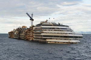 22 January 2014: The Costa Concordia cruise ship remains in the water