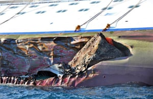 14 January 2012: A rock is embedded in the Costa Concordia's hull
