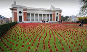 Thousands of paper poppies at the Menin Gate