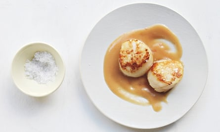 mary-ellen mctague's seared scallops withnectarine and burnt butter