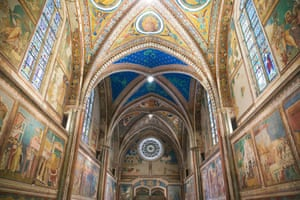 Interior of the San Francesco basilica in Assisi.