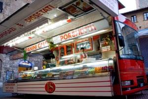 A porchetta deli bus is a common site at Umbria's markets