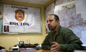 Rebel commander Alexander Khodakovsky of the Vostok Battalion speaks during an interview in Donetsk.ukraine