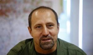 Rebel commander Alexander Khodakovsky of the Vostok Battalion speaks during an interview in Donetsk.