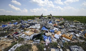 The crash site of the downed Malaysia Airlines flight MH17, in a field near the village of Grabovo, Ukraine.