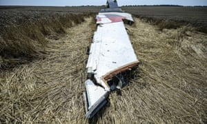 A part of downed flight MH17 in a field near the village of Grabove Ukraine.